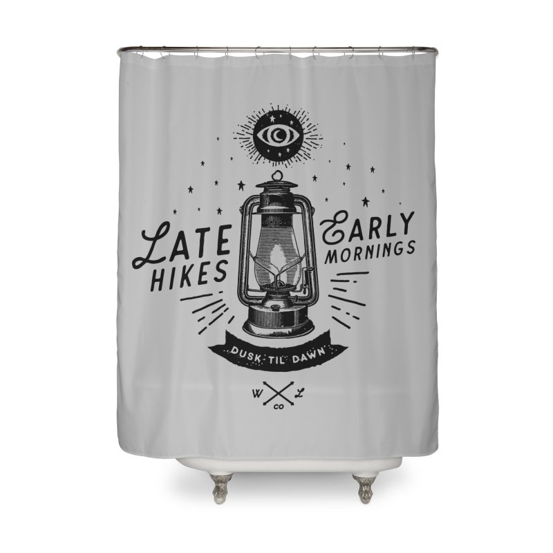 Late Hikes, Early Mornings Home Shower Curtain by wilderlustco's Artist Shop