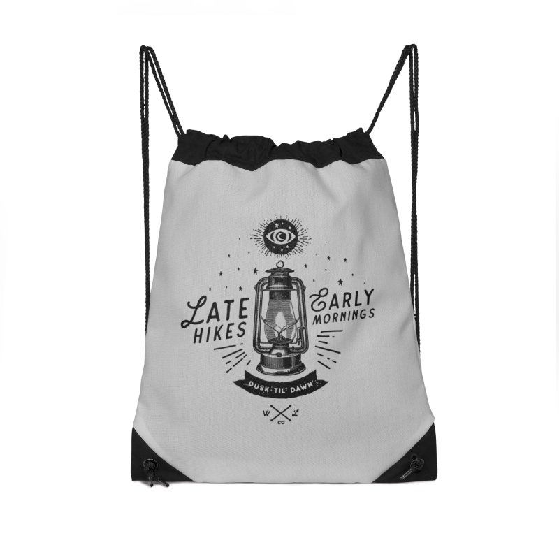 Late Hikes, Early Mornings Accessories Drawstring Bag Bag by wilderlustco's Artist Shop