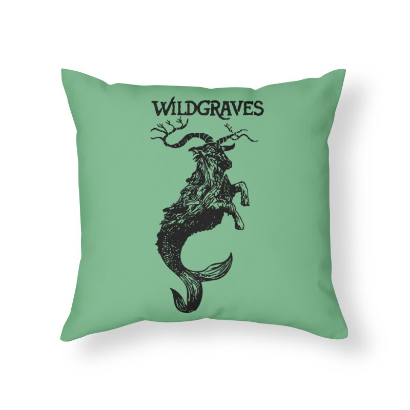 Near Drowning- Black Home Throw Pillow by Wildgraves Merch