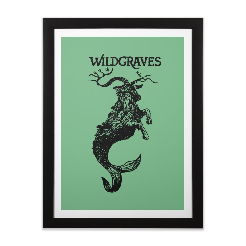 Near Drowning- Black Home Framed Fine Art Print by Wildgraves Merch