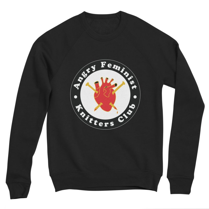 Angry Feminist Knitters Club- Red Women's Sponge Fleece Sweatshirt by Wild Hunt