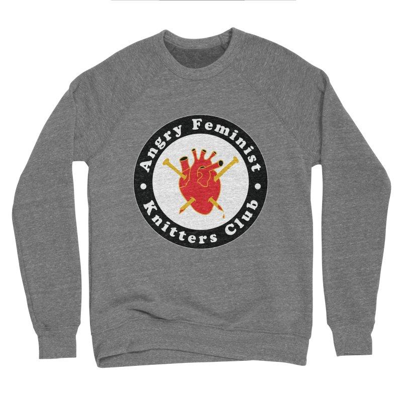 Angry Feminist Knitters Club- Red Women's Sponge Fleece Sweatshirt by Wild Hunt