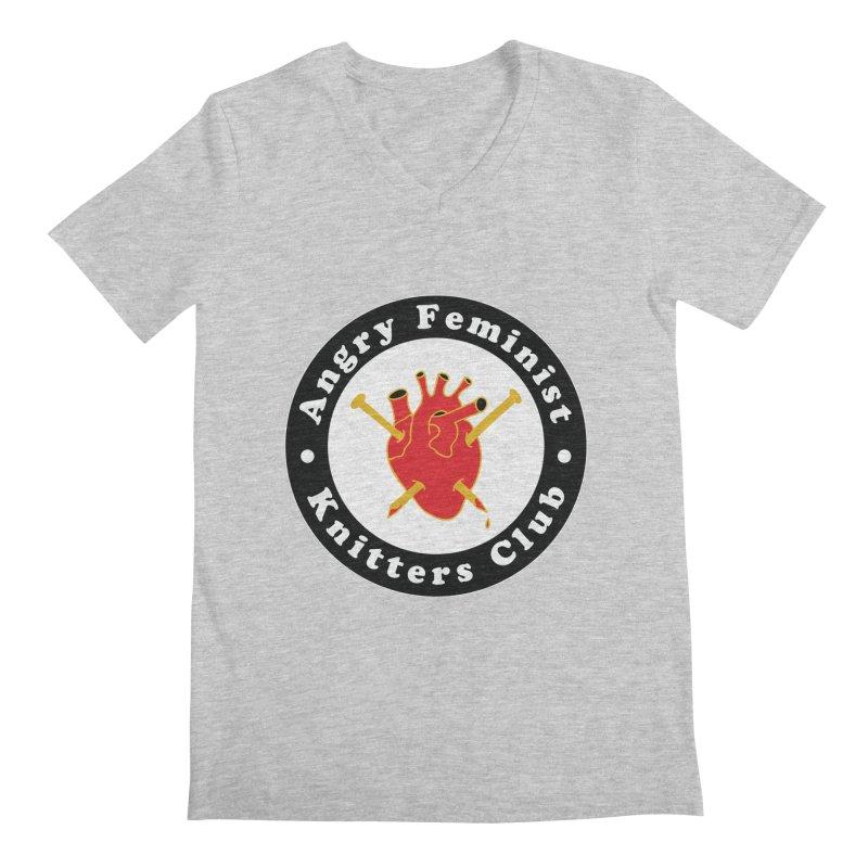 Angry Feminist Knitters Club- Red Men's Regular V-Neck by Wild Hunt
