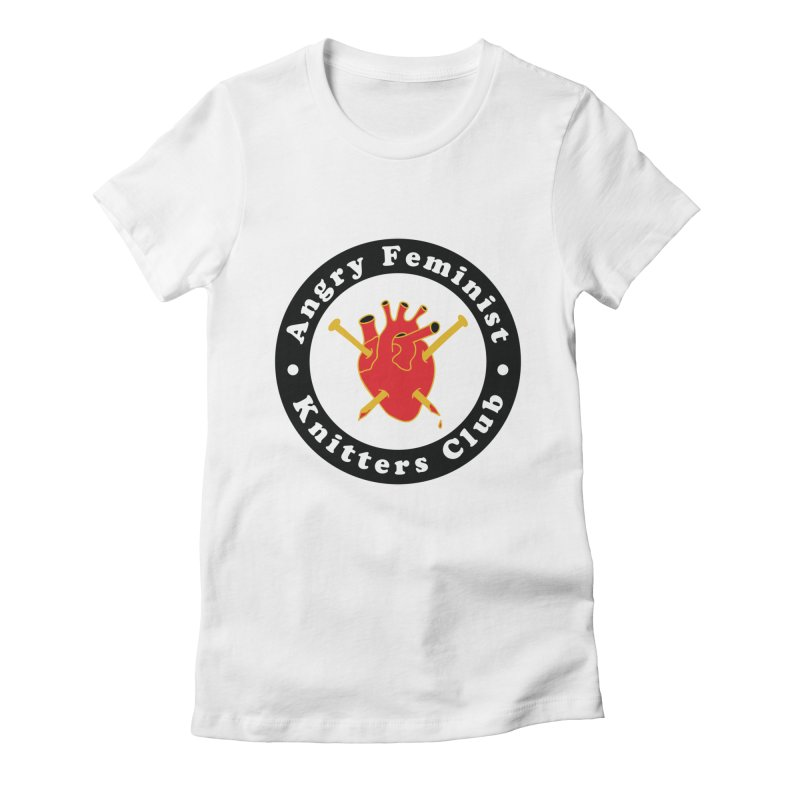 Angry Feminist Knitters Club- Red Women's Fitted T-Shirt by Wild Hunt