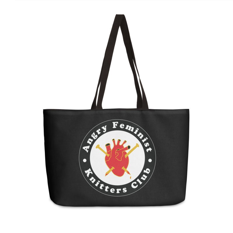 Angry Feminist Knitters Club- Red Accessories Weekender Bag Bag by Wild Hunt