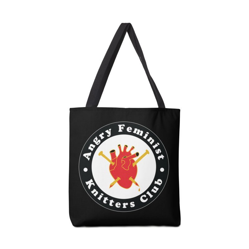 Angry Feminist Knitters Club- Red Accessories Tote Bag Bag by Wild Hunt