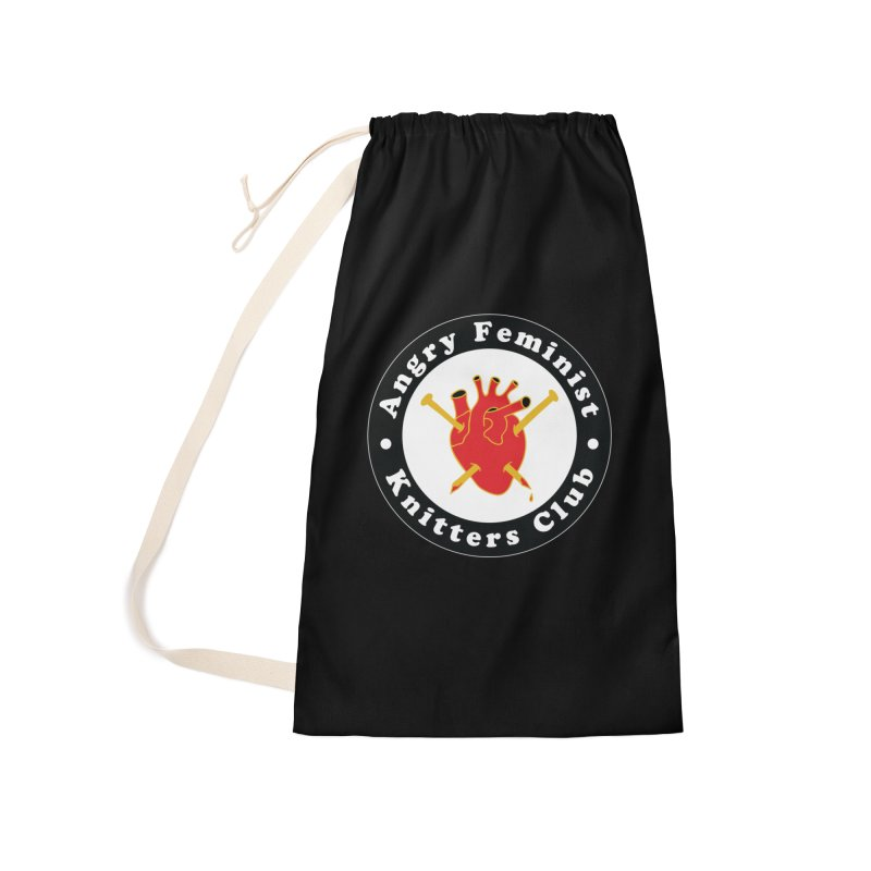 Angry Feminist Knitters Club- Red Accessories Laundry Bag Bag by Wild Hunt