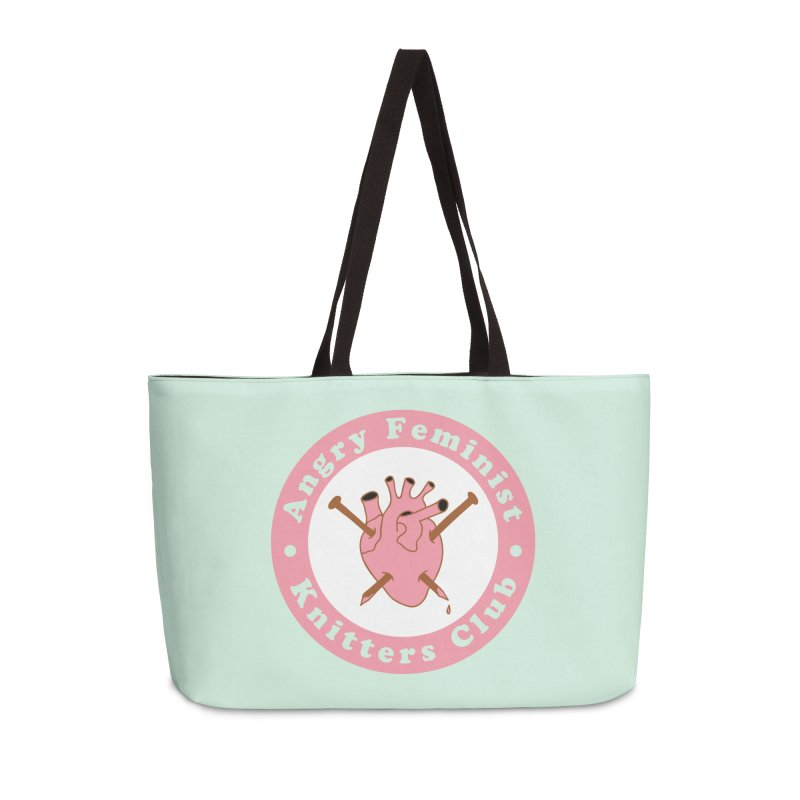 Angry Feminist Knitters Club- Pink Accessories Weekender Bag Bag by Wild Hunt