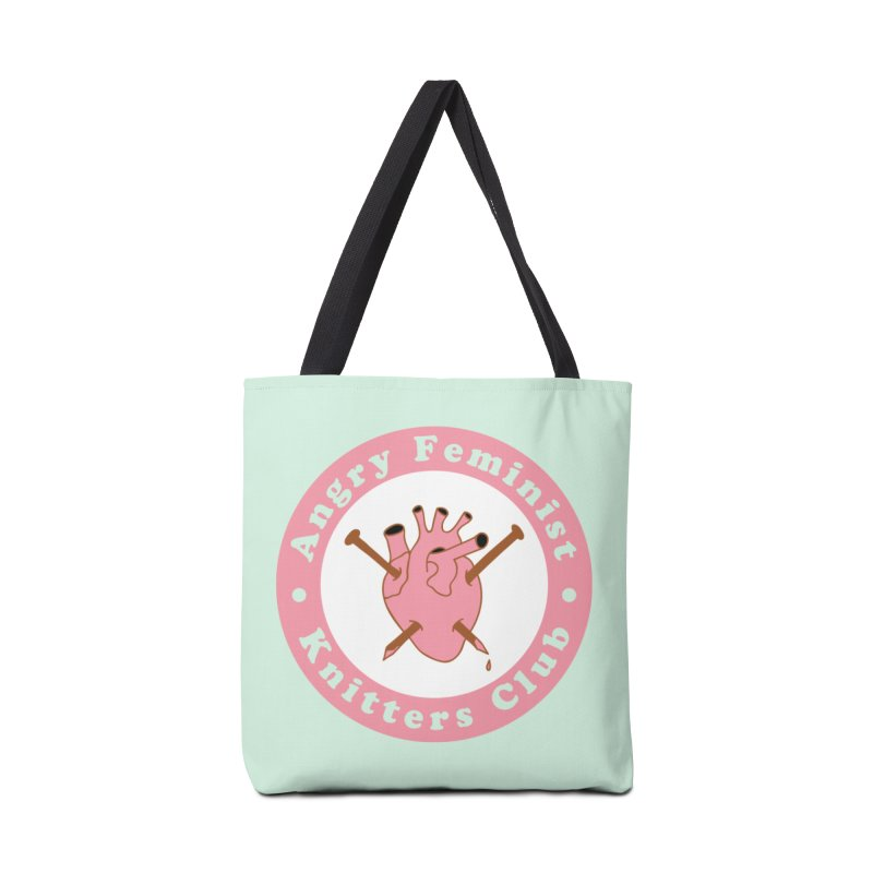 Angry Feminist Knitters Club- Pink Accessories Tote Bag Bag by Wild Hunt