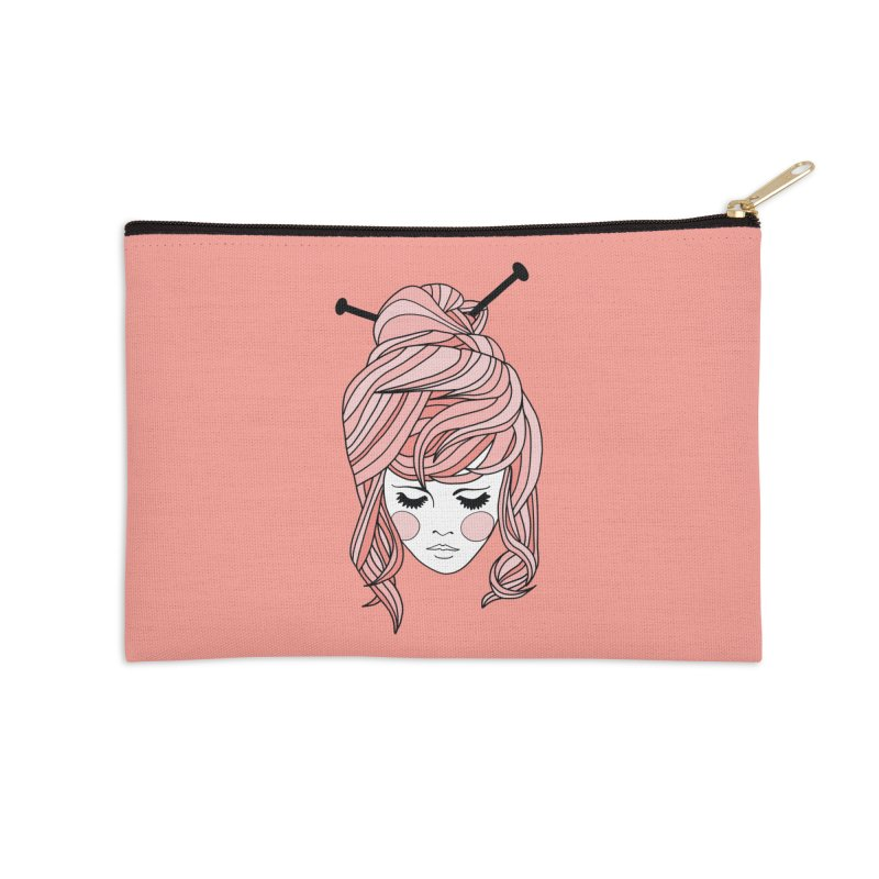 Knitter Girl Accessories Zip Pouch by Wild Hunt