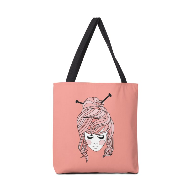 Knitter Girl Accessories Tote Bag Bag by Wild Hunt