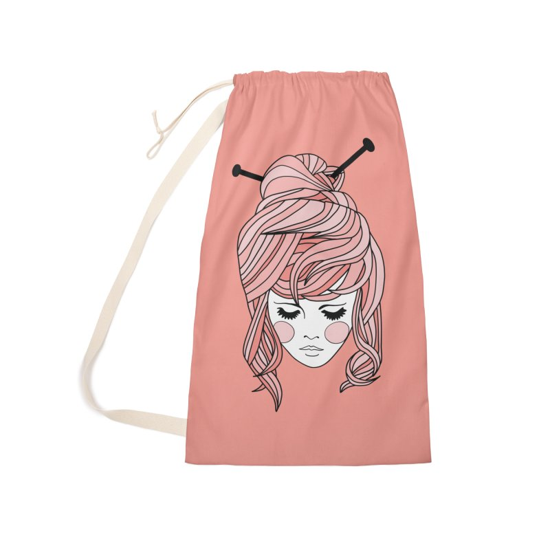 Knitter Girl Accessories Laundry Bag Bag by Wild Hunt