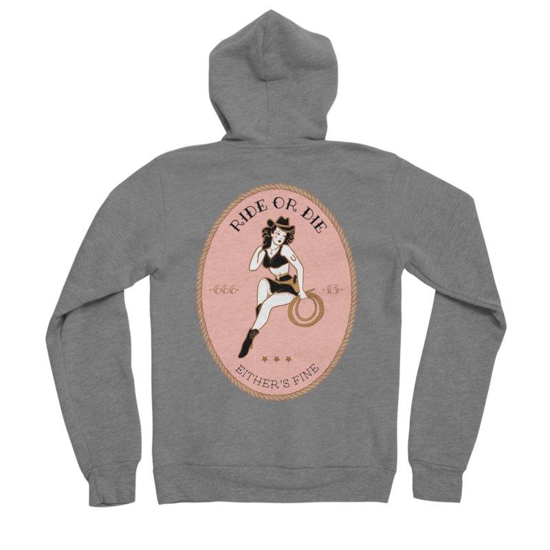 Ride or Die - Pink Women's Sponge Fleece Zip-Up Hoody by Wild Hunt