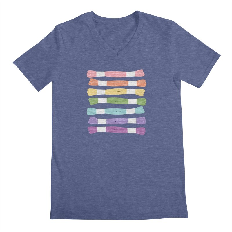 A Rainbow of Floss Men's V-Neck by Wild Olive's Artist Shop