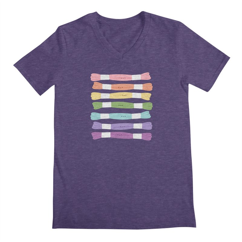 A Rainbow of Floss Men's Regular V-Neck by wildolive's Artist Shop