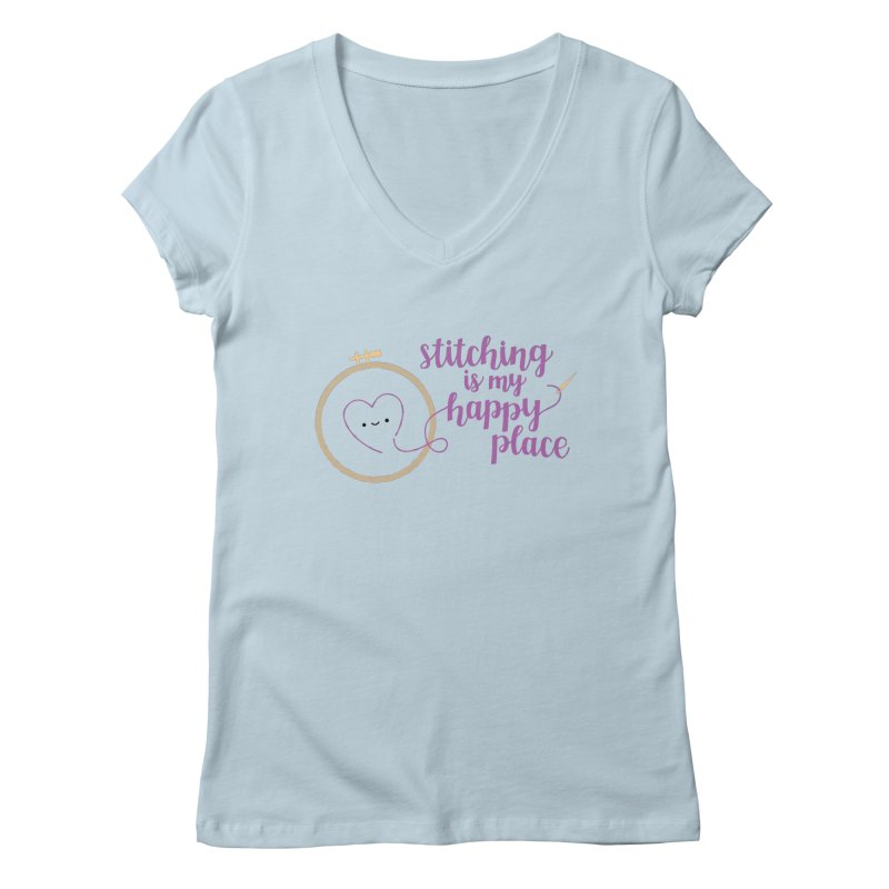 Stitching is My Happy Place Women's V-Neck by wildolive's Artist Shop