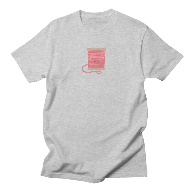 Sew Cute Pink Thread Spool Men's Regular T-Shirt by Wild Olive's Artist Shop