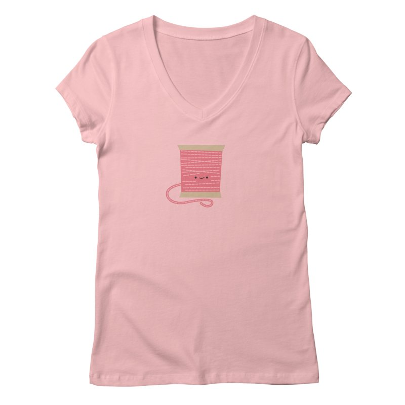 Sew Cute Pink Thread Spool Women's V-Neck by wildolive's Artist Shop