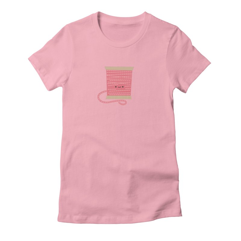 Sew Cute Pink Thread Spool Women's Fitted T-Shirt by wildolive's Artist Shop