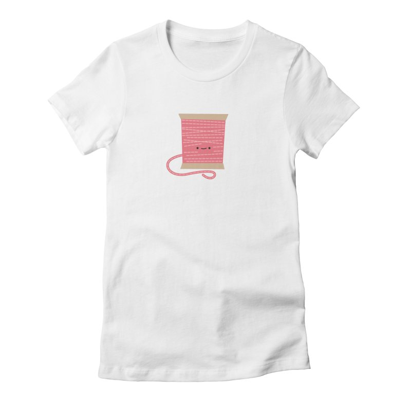 Sew Cute Pink Thread Spool Women's T-Shirt by Wild Olive's Artist Shop