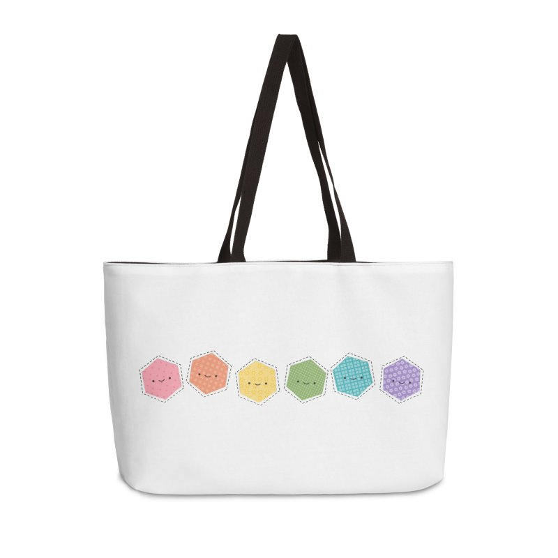 A Rainbow of Hexagons Accessories Weekender Bag Bag by Wild Olive's Artist Shop