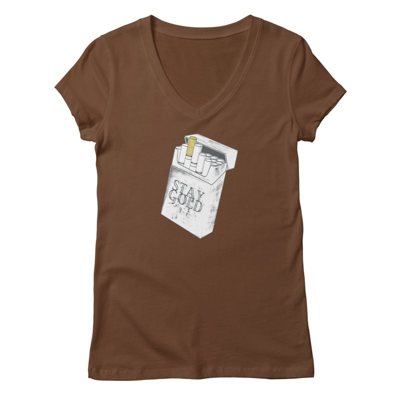 Stay Gold Women's Regular V-Neck by Wild Roots Artist Shop