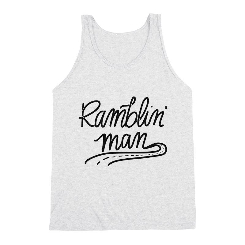 Ramblin' Man T-Shirt in Men's Triblend Tank Heather White by Wild We Wander's Shop