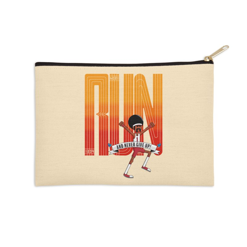 Run and never give up Accessories Zip Pouch by Willian Richard's Artist Shop