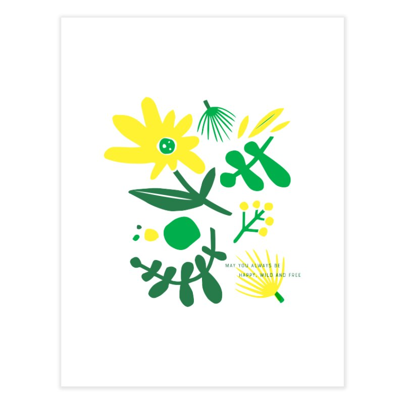 Happy, Wild & Free Home Fine Art Print by Willoughby Goods
