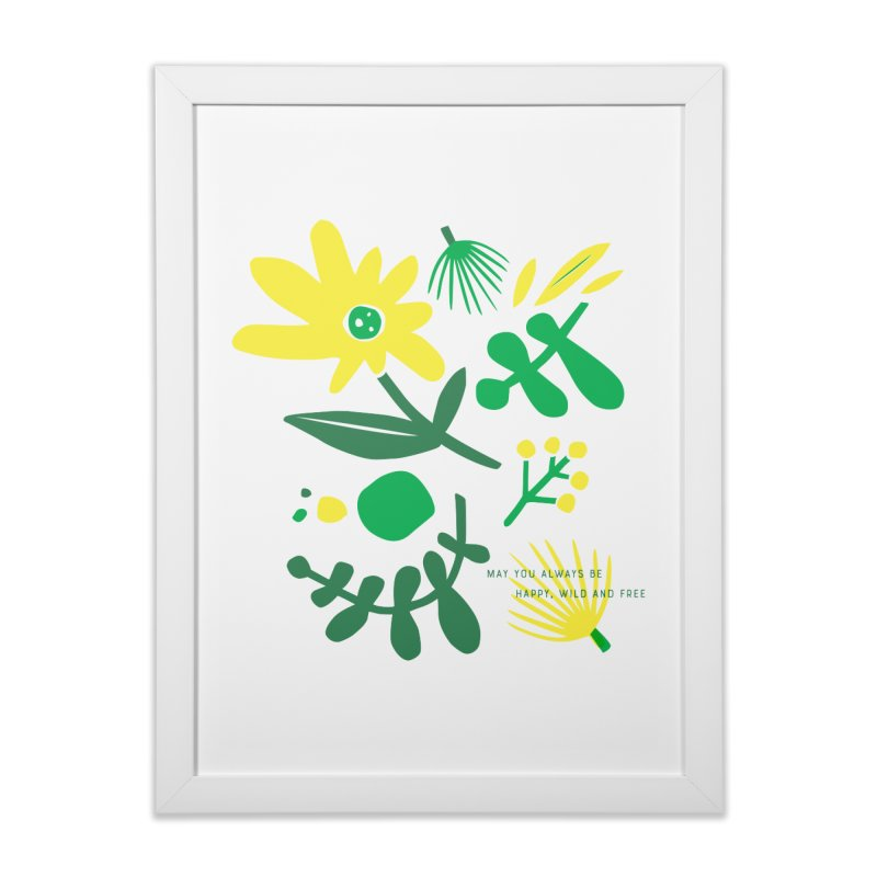 Happy, Wild & Free Home Framed Fine Art Print by Willoughby Goods