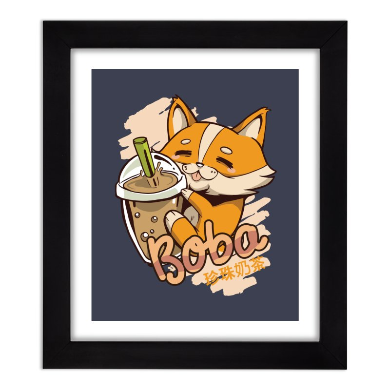 Corgi Boba Home Desor Framed Fine Art Print by wimsical