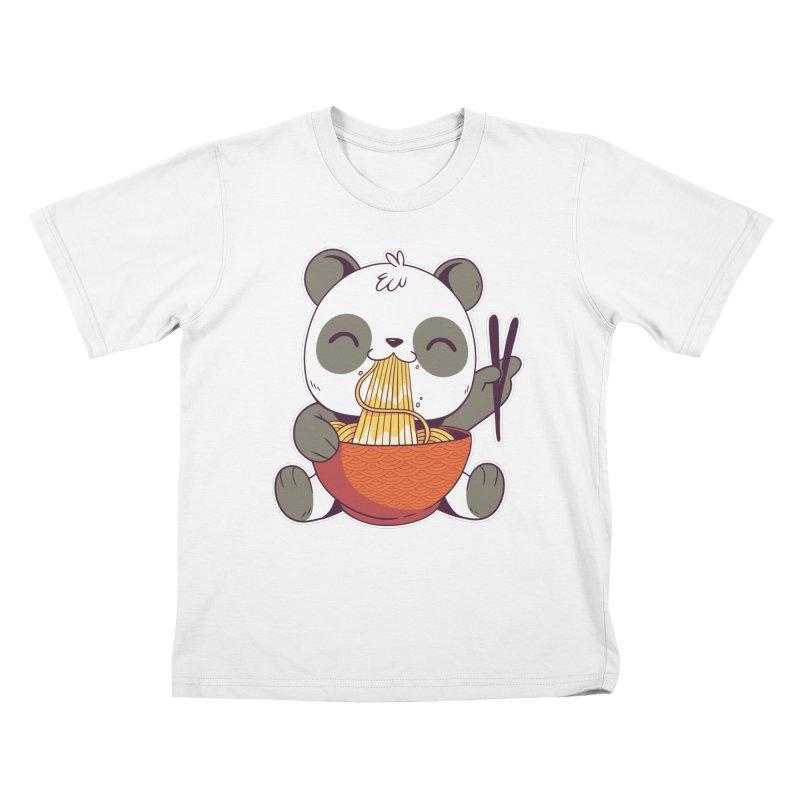 Ramen Panda Kids T-Shirt by wimsical