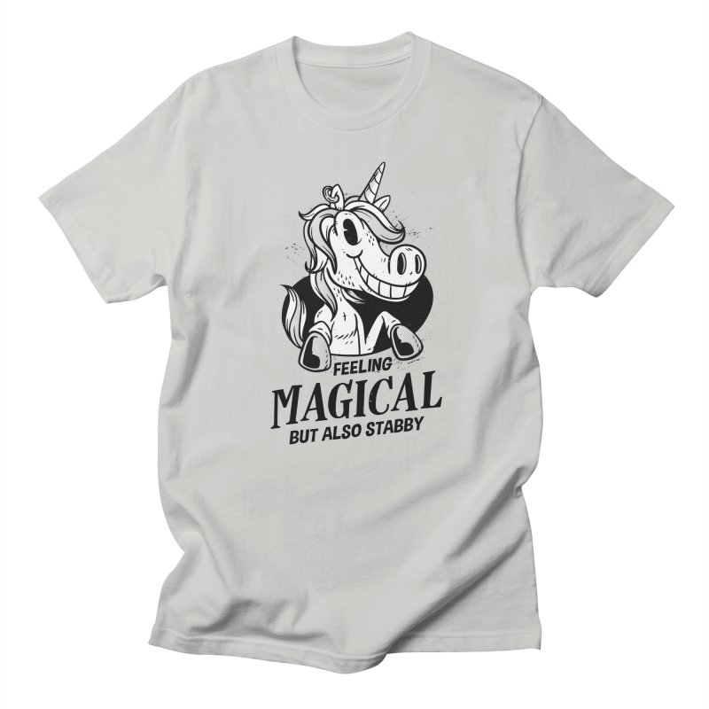 Feeling Magical But Also Stabby Unicorn Men's T-Shirt by wimsical