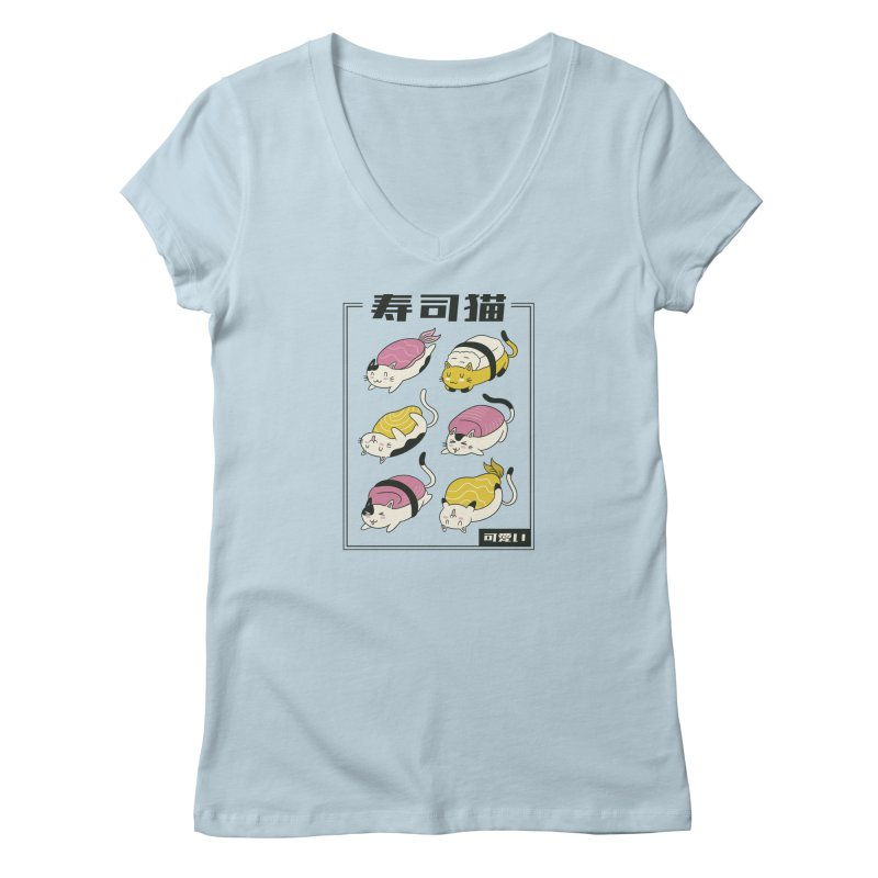 Sushi Cat Rolls Women's V-Neck by wimsical