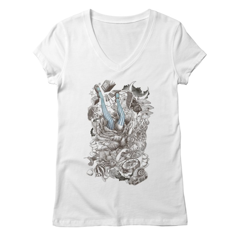 Wonderland Women's V-Neck by Windville's Artist Shop