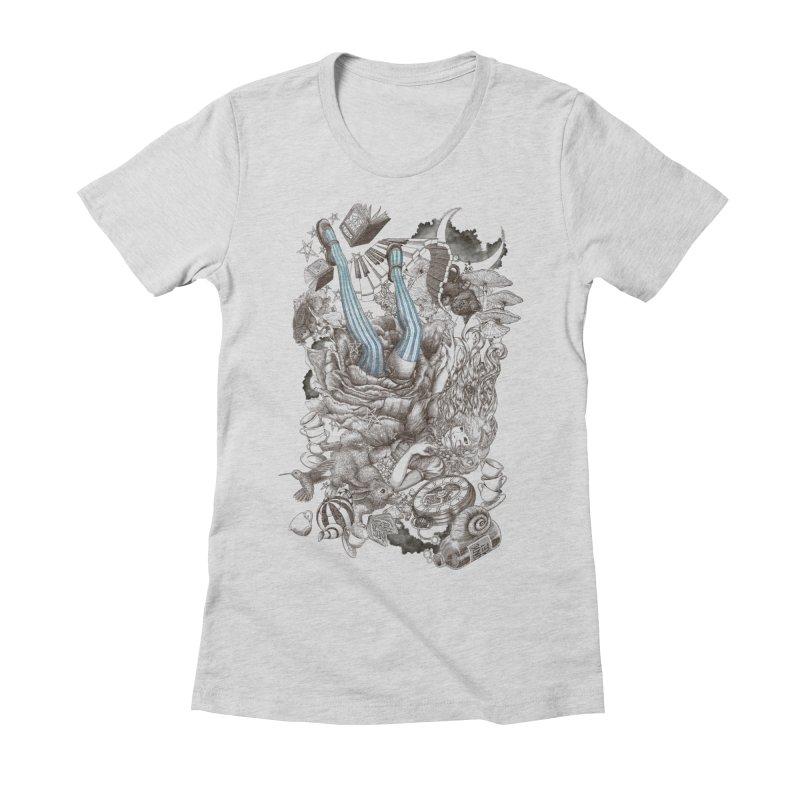 Wonderland Women's Fitted T-Shirt by Windville's Artist Shop