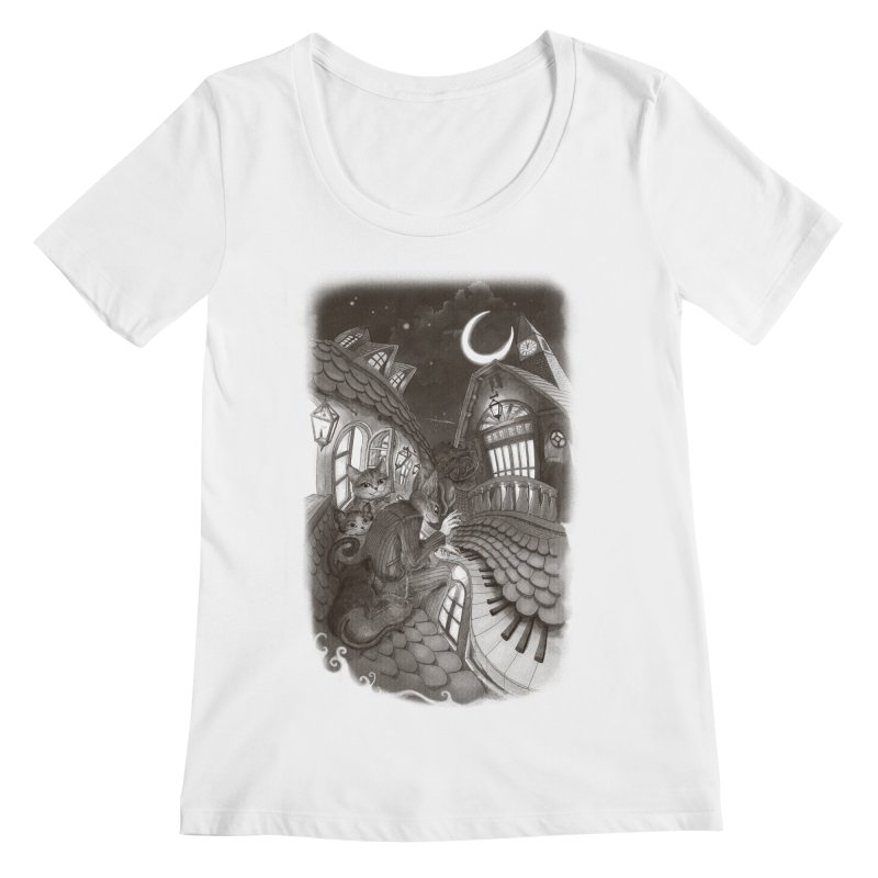 Midnight Melody Women's Scoopneck by Windville's Artist Shop