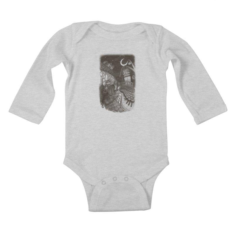 Midnight Melody Kids Baby Longsleeve Bodysuit by Windville's Artist Shop