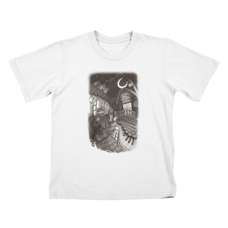Midnight Melody Kids T-Shirt by Windville's Artist Shop