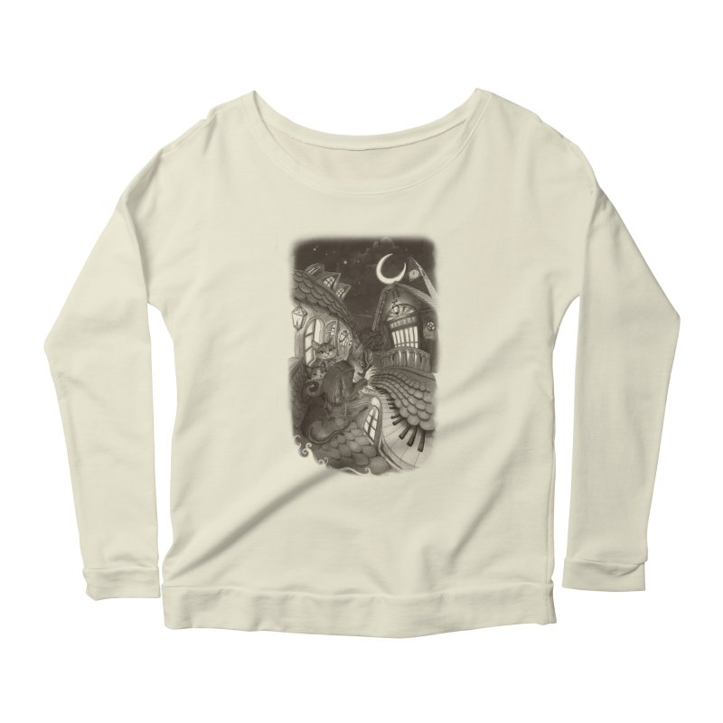 Midnight Melody Women's Longsleeve Scoopneck  by Windville's Artist Shop