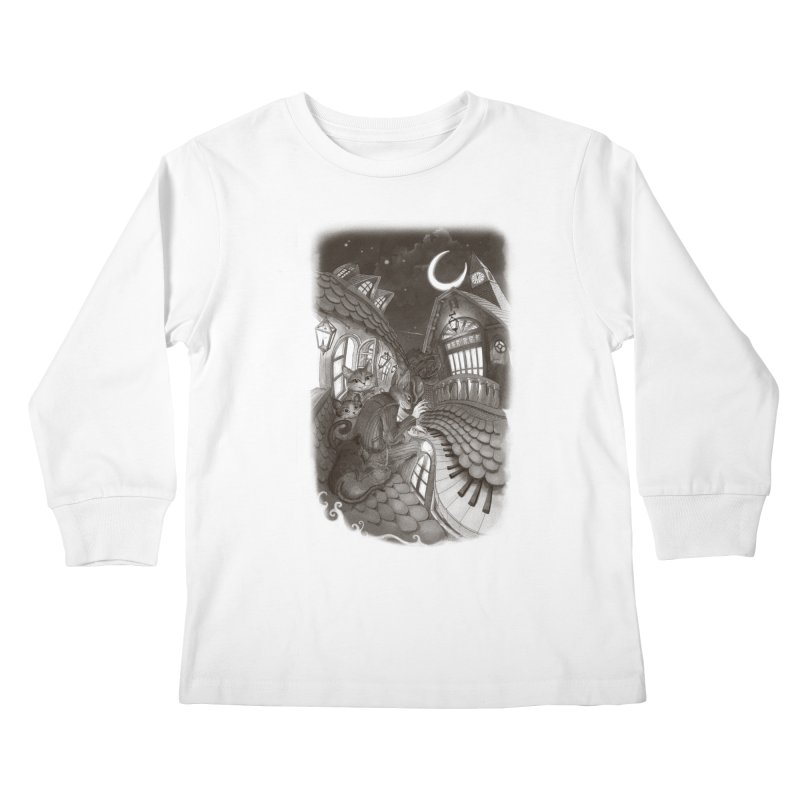 Midnight Melody Kids Longsleeve T-Shirt by Windville's Artist Shop