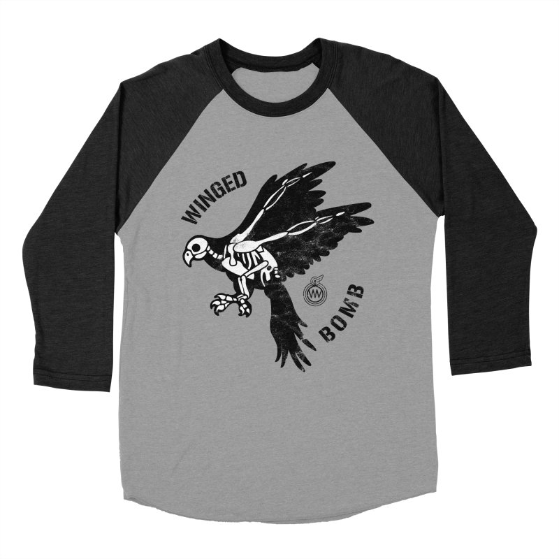 Macaw Skeleton in Men's Baseball Triblend T-Shirt Heather Onyx Sleeves by WingedBomB's Artist Shop