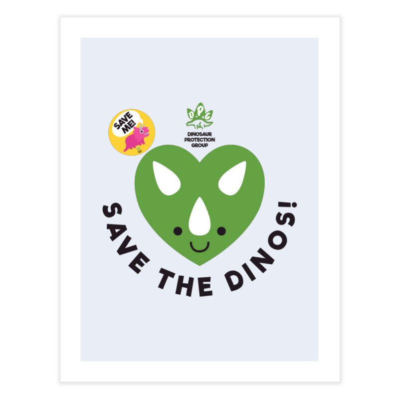 Save The Dinos! (Variant) Home Fine Art Print by WingedBomB's Artist Shop