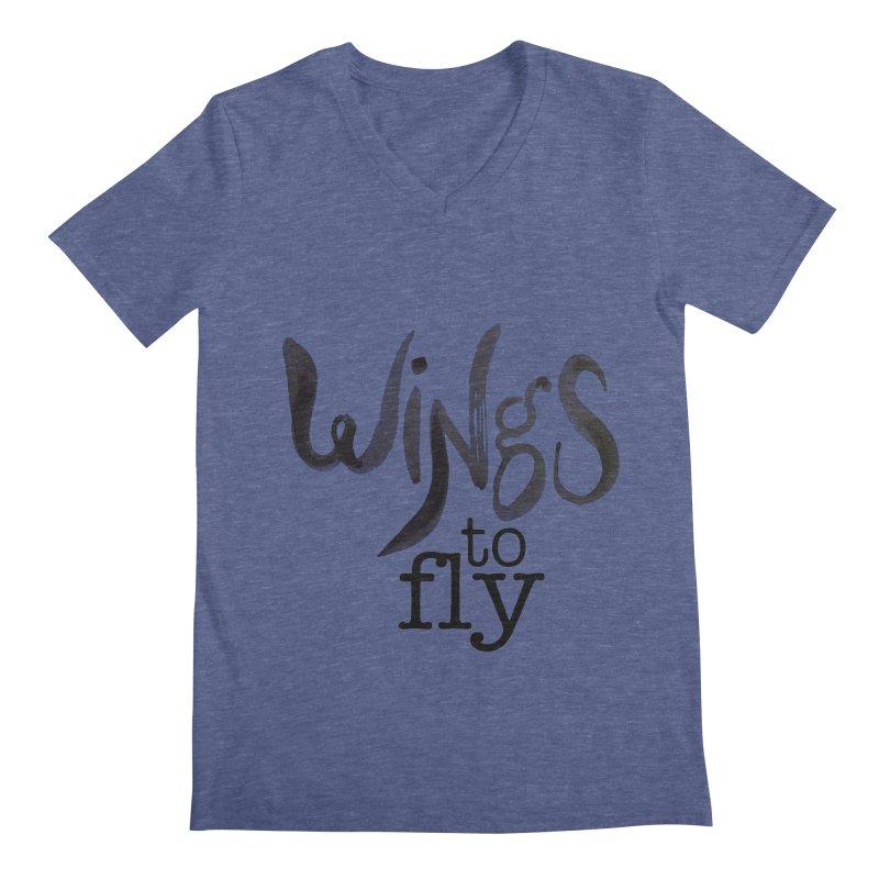 Wings To Fly Brushstroke Men's Regular V-Neck by wingstofly's Artist Shop