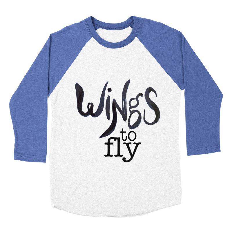 Wings To Fly Brushstroke Women's Baseball Triblend T-Shirt by wingstofly's Artist Shop