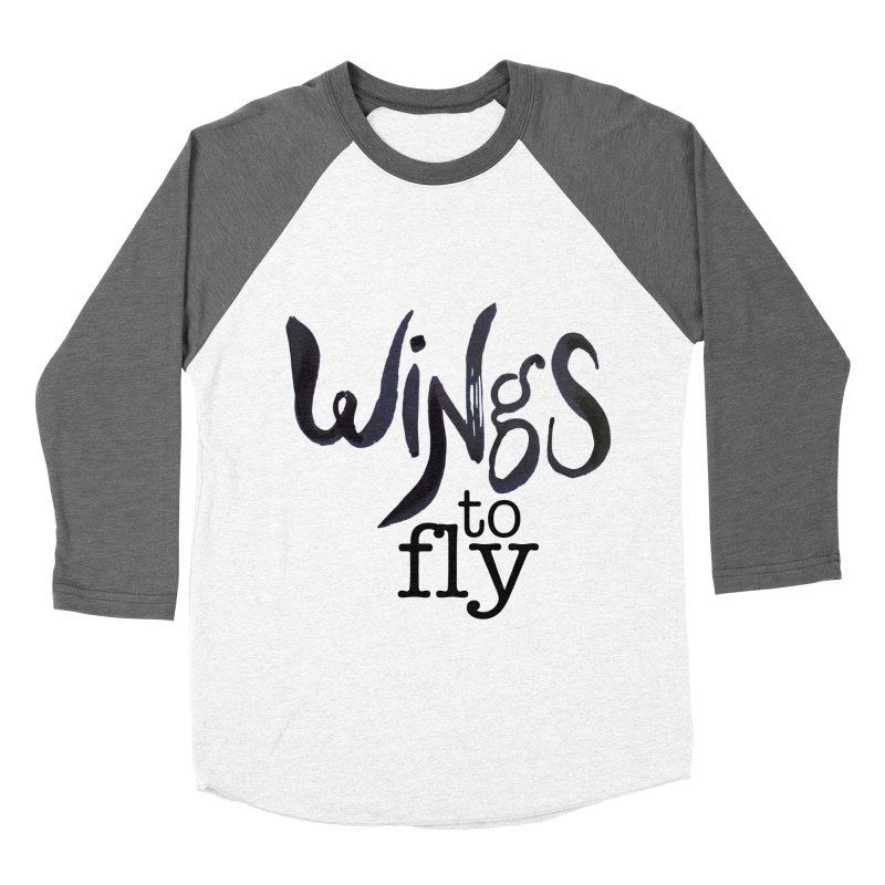 Wings To Fly Brushstroke Women's Baseball Triblend T-Shirt by wingstofly's Artist Shop