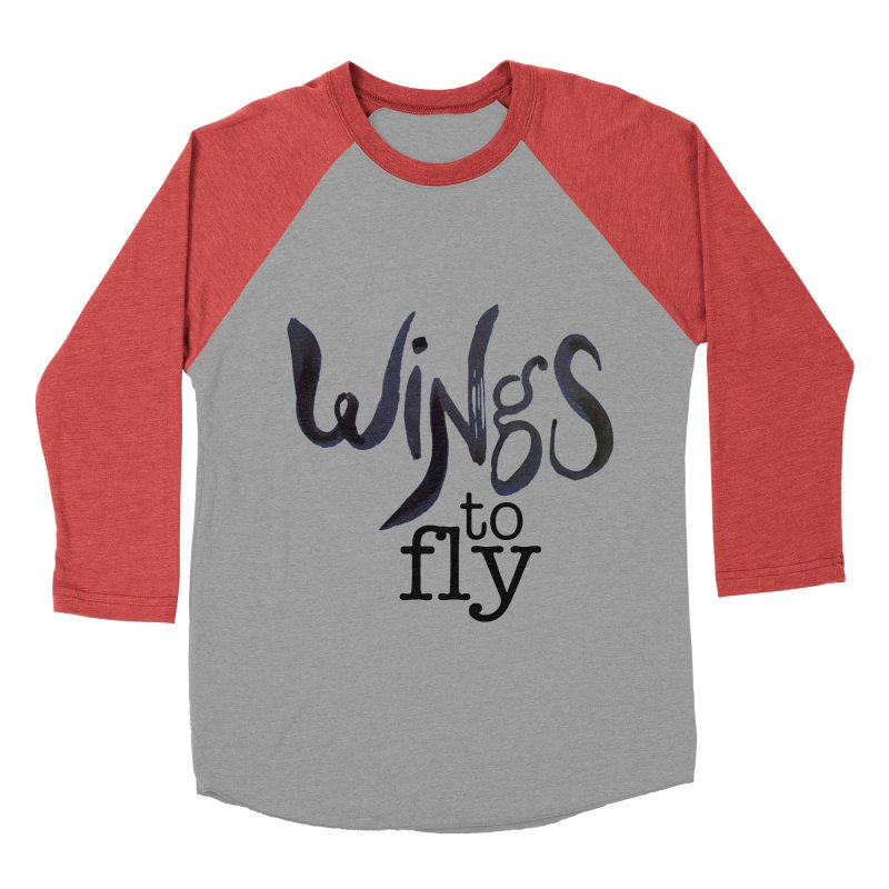 Wings To Fly Brushstroke Women's Baseball Triblend Longsleeve T-Shirt by wingstofly's Artist Shop