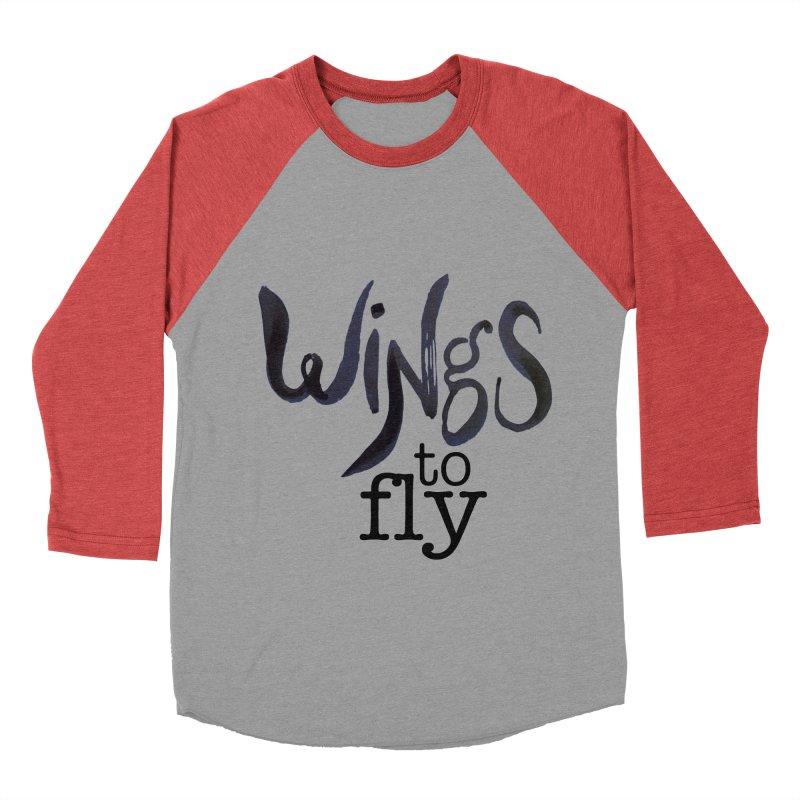 Wings To Fly Brushstroke Men's Baseball Triblend T-Shirt by wingstofly's Artist Shop