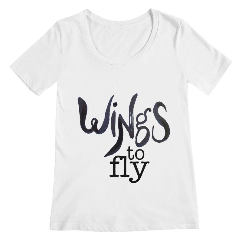 Wings To Fly Brushstroke Women's Regular Scoop Neck by wingstofly's Artist Shop