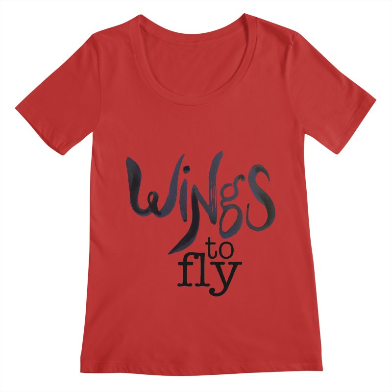 Wings To Fly Brushstroke Women's Regular Scoop Neck by wingstofly's Artist Shop